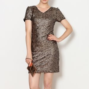 She+Sky Gold Brown Sequin Dress
